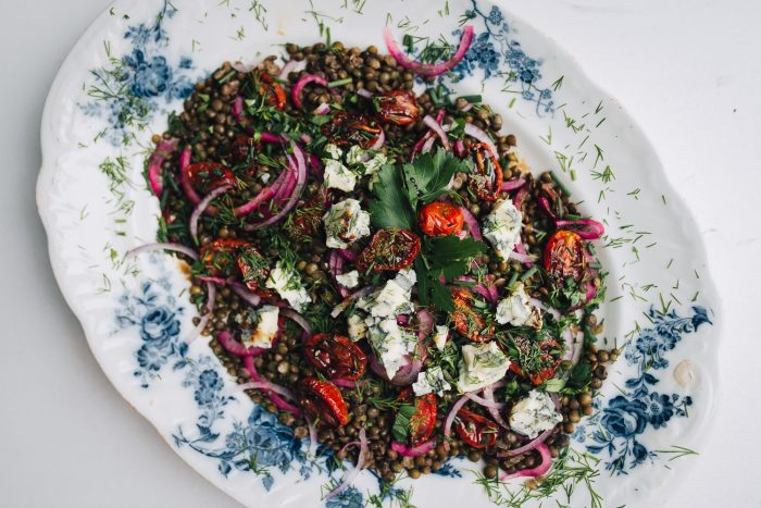 Yotam Ottolenghi's lentil salad with oven-dried tomatoes