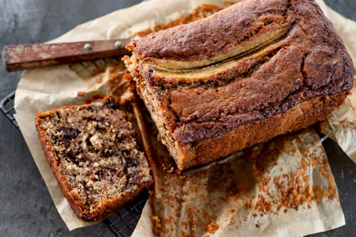 Banana bread with walnuts, pecans and chocolate chunks