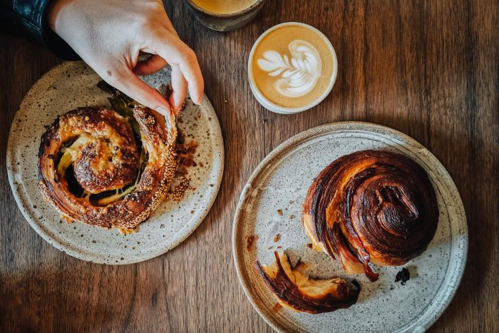 Pastries and Coffee at Pophams Bakery London