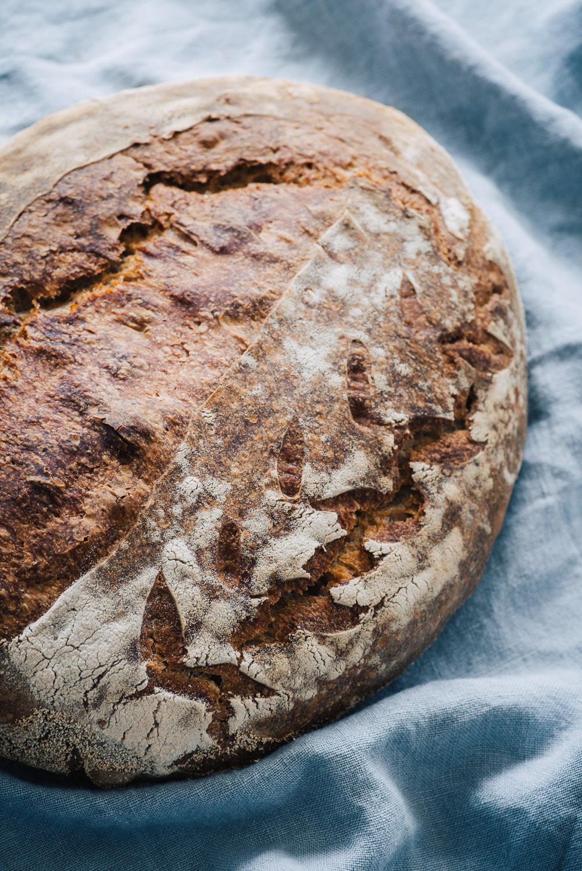 Sourdough bread loaf prepared with sourdough starter using Bread Ahead Bakery recipe | Mondomulia