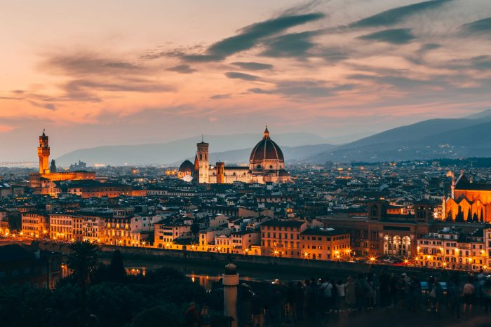 Aerial photo of Florence at sunset from Piazzale Michelangelo