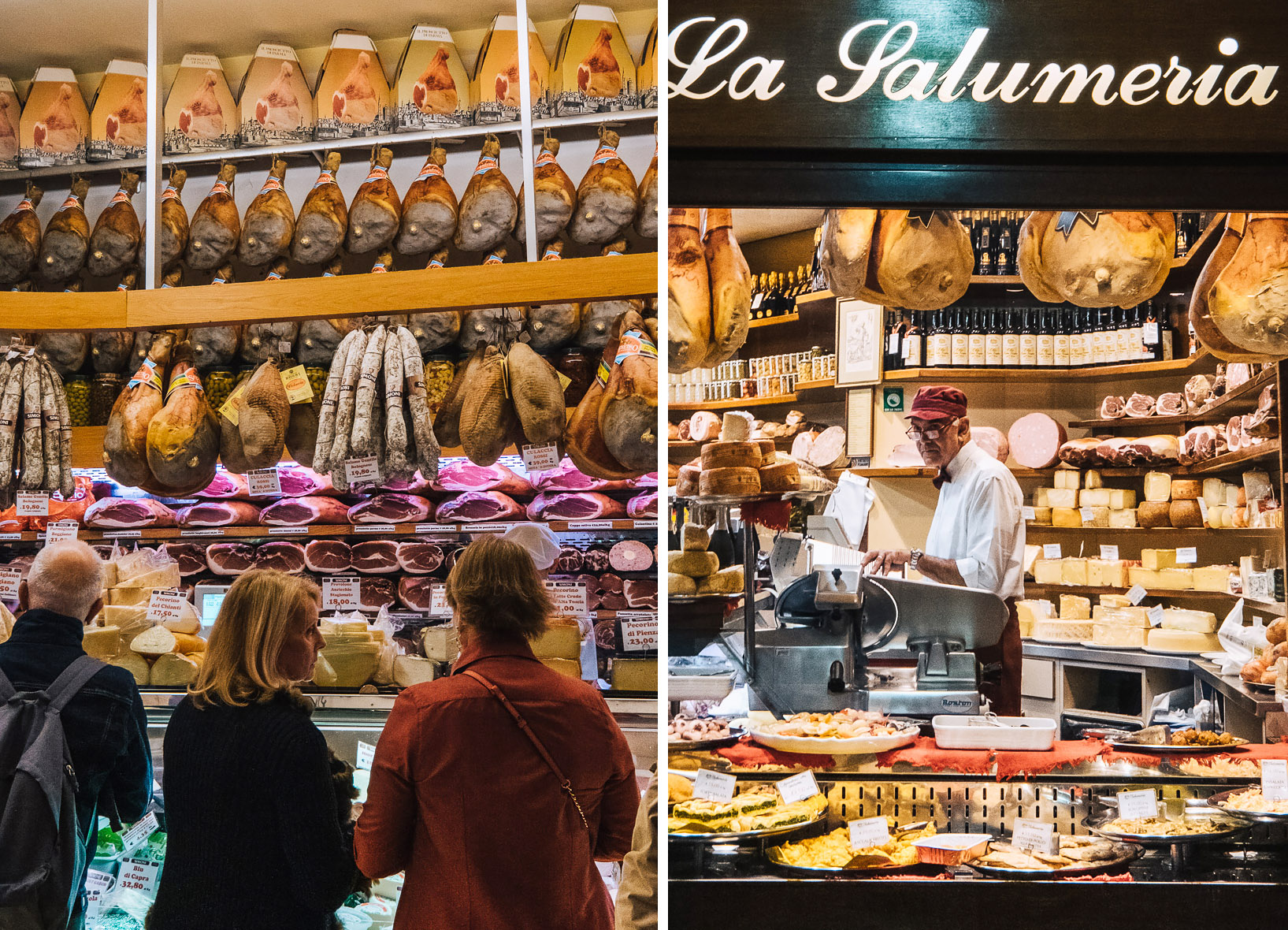 Food shops selling local Parma ham, cheese and fresh pasta in the Quadrilatero neighbourhood in Bologna | Six Beautiful Places you Must Visit in Emilia Romagna | Mondomulia