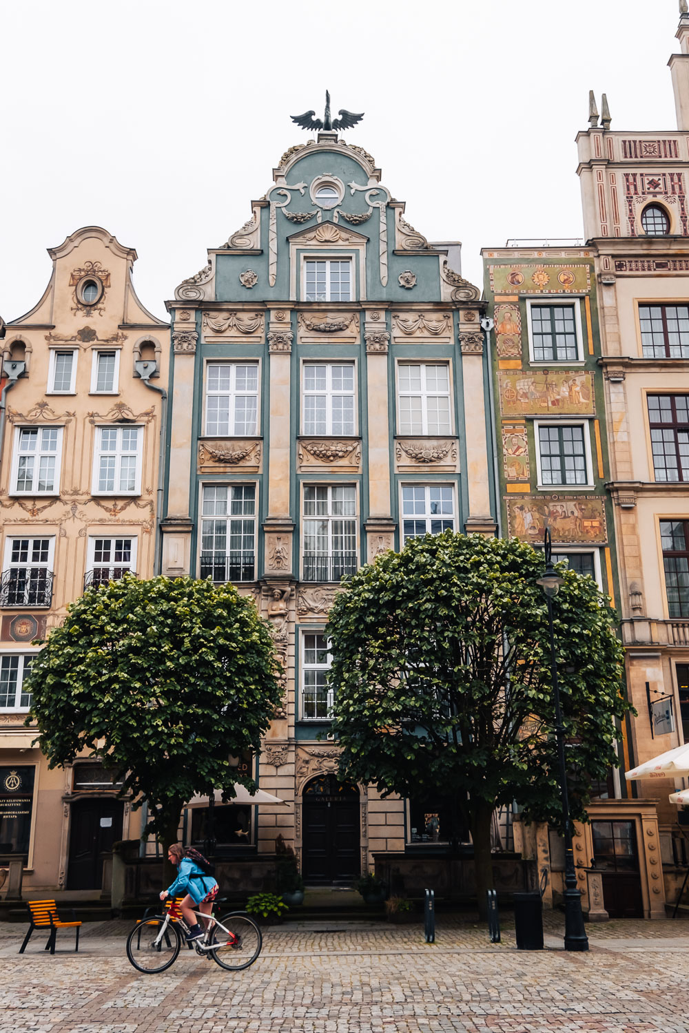 The 17th century style houses overlooking the Long Market street in Gdansk main town, Poland