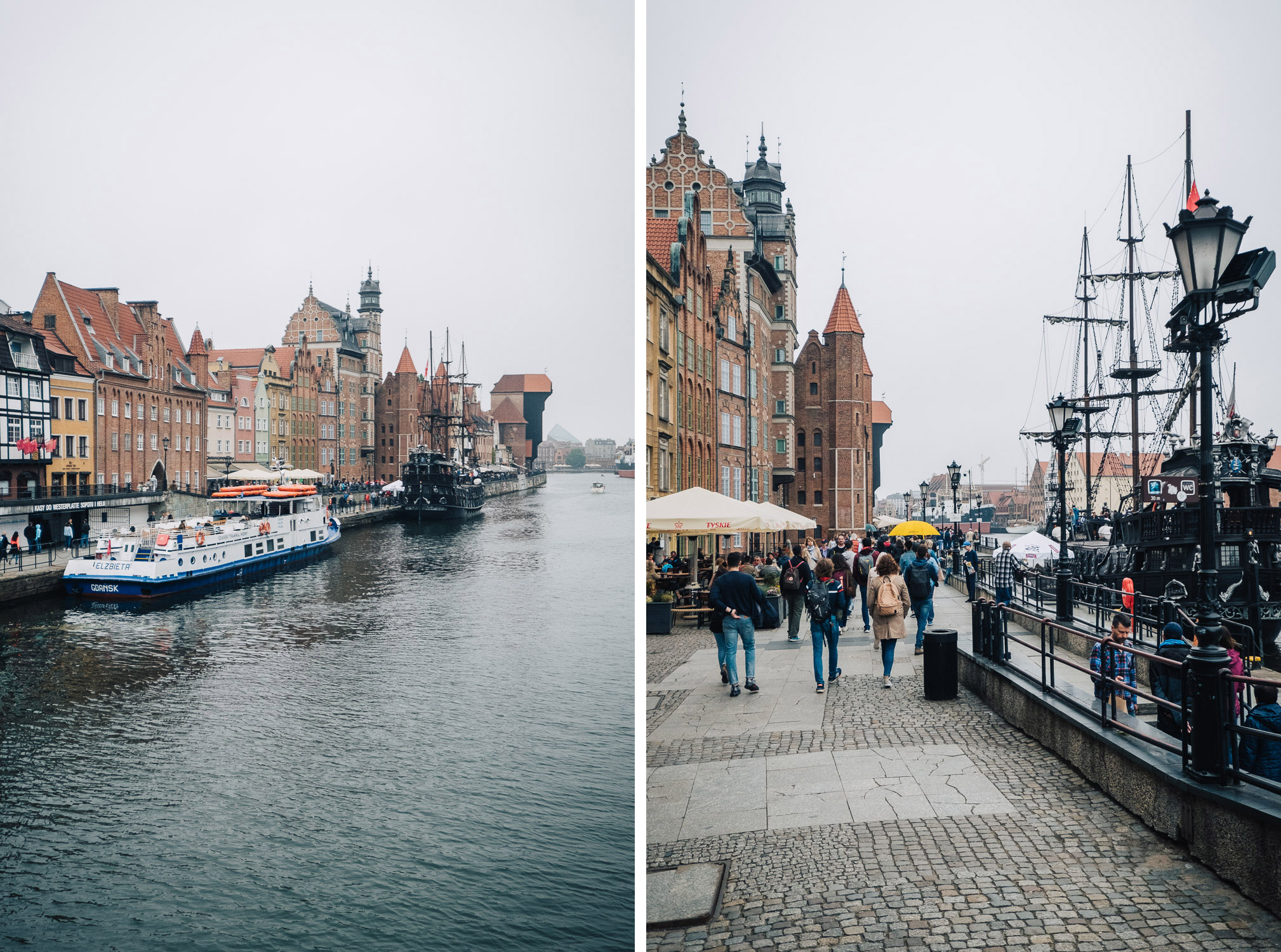 The picturesque Gdansk riverfront in Poland