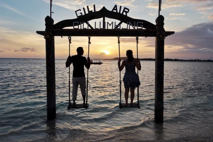 Sunset in Gili Air island in Indonesia