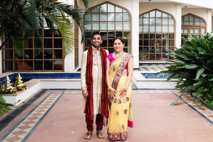 Couple wearing Indian clothes to attend a wedding ceremony in Hydearab, India