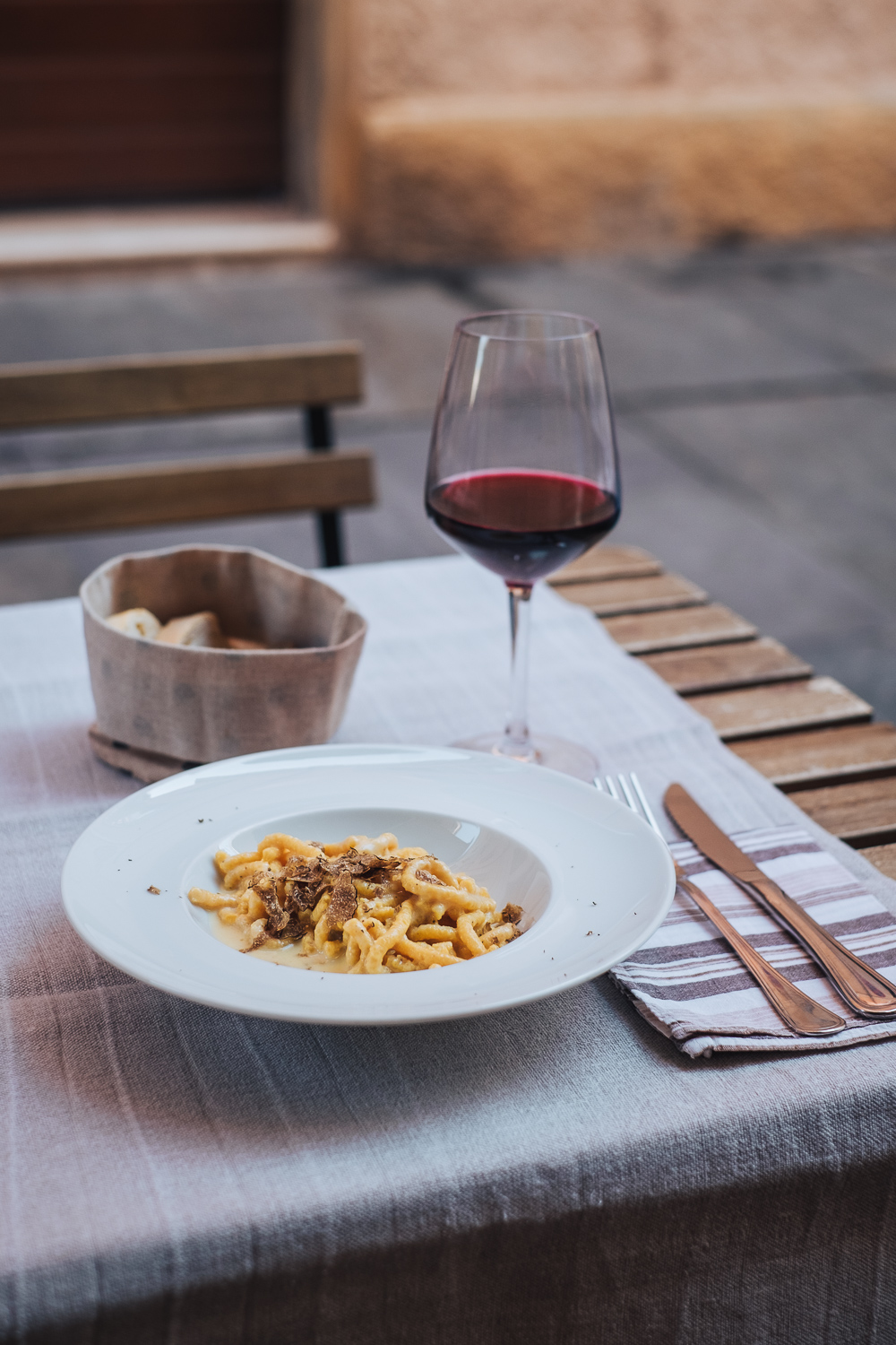 Pasta and red wine in Modena, Italy