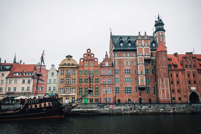 17th century style houses overlooking the picturesque Motlawa river front in Gdansk, Poland