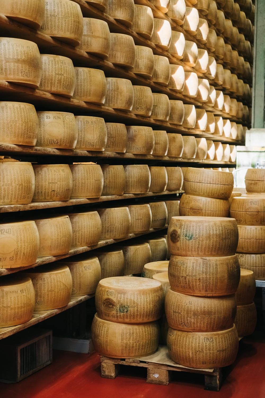 Parmigiano Reggiano is produced in Emilia Romagna. Guided tours are offered at 4 Madonne Caseificio dell'Emilia near Modena.