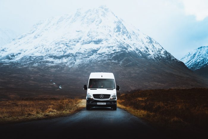 A Campervan on the road in Glencoe Mountain, Ballachulish, United Kingdom