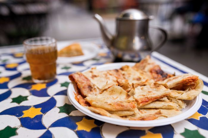 Moroccan food and tea at Le Marche des Enfants Rouges in Le Marais, Paris