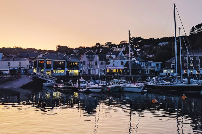 Sunset time at the harbour in Padstow, North Cornwall
