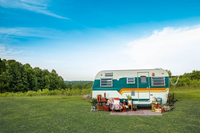 A colourful RV parked in the countryside in Akron, Ohio, United States
