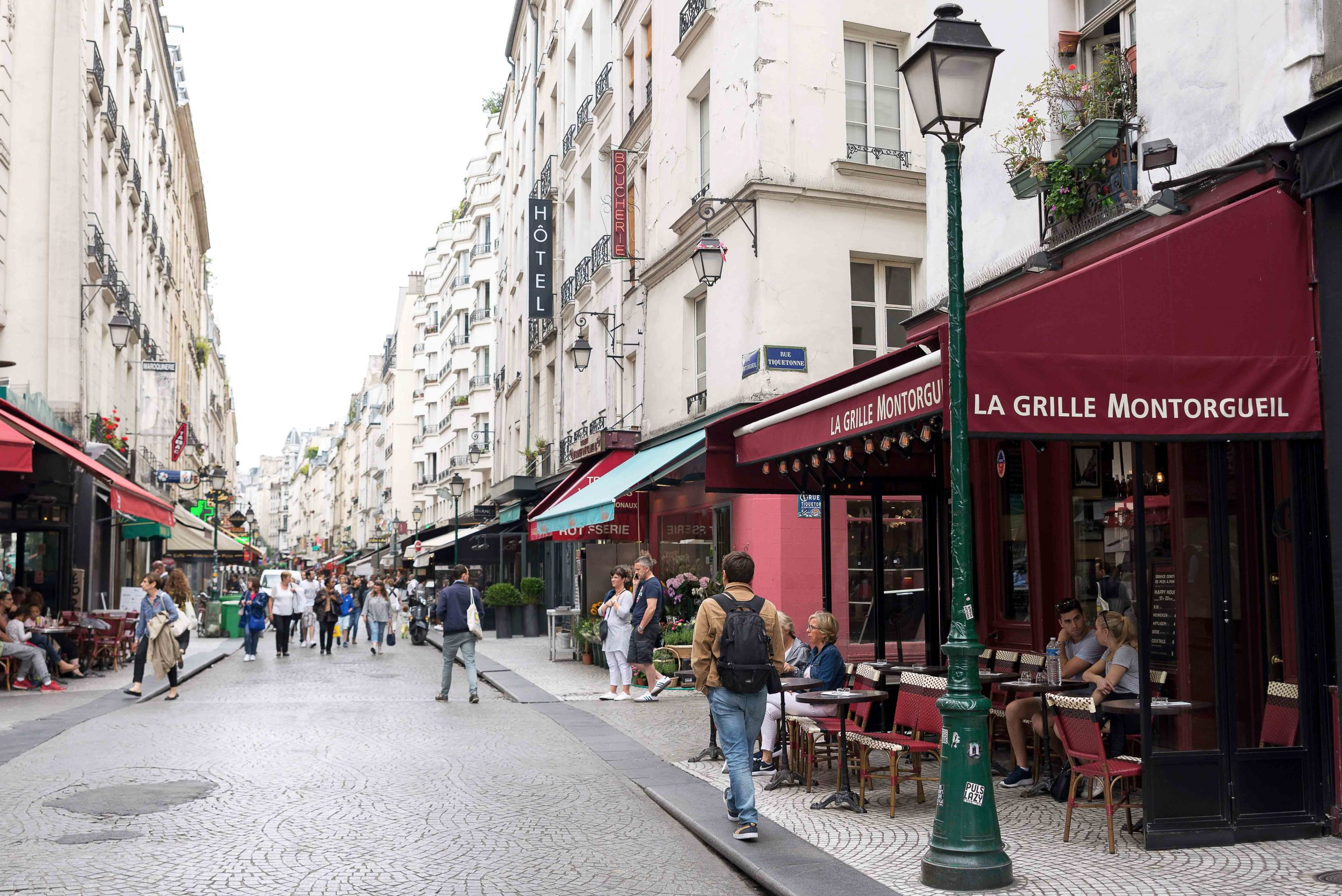 Rue Montorgueil is a tiny pedestrian street in Paris, north of Le Halle station