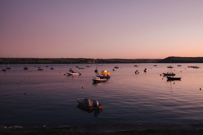 Sunset view of the Camel Estuary from the village of Rock in North Cornwall, United Kingdom