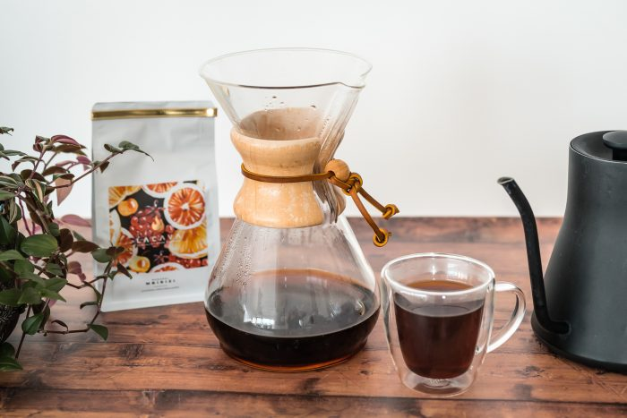 Manual coffee brewing with a Chemex coffeemaker