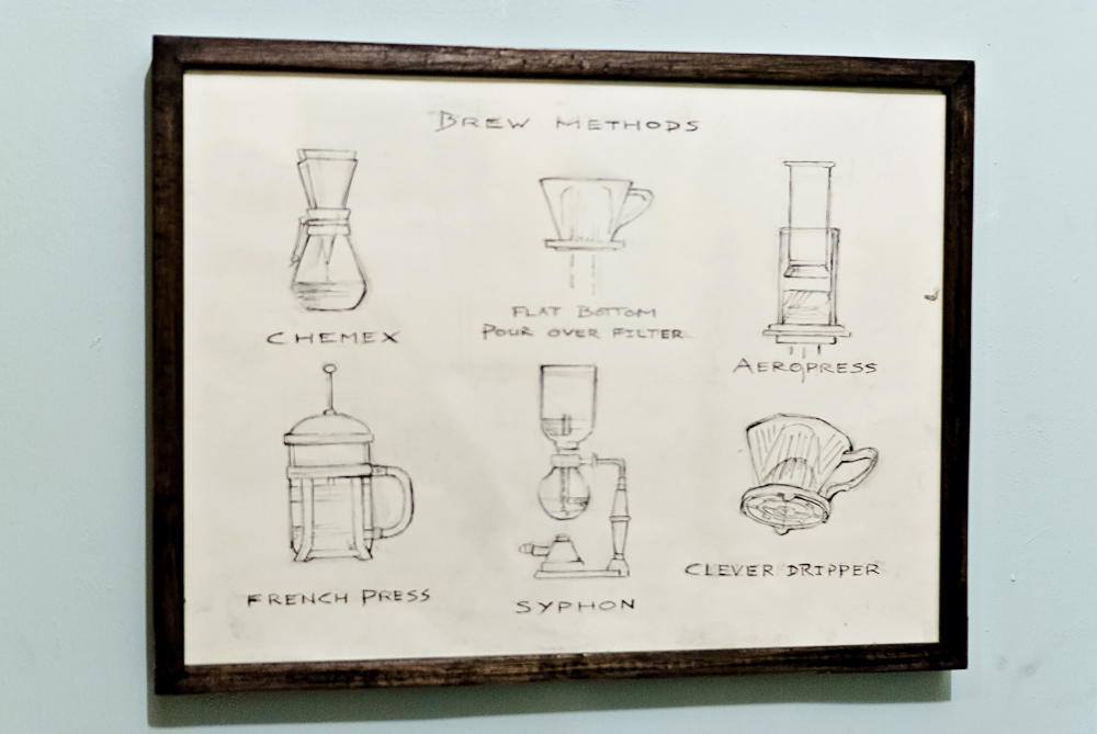 A poster with illustration of different coffee brewing methods at Colonna & Small's coffee shop in Bath, England