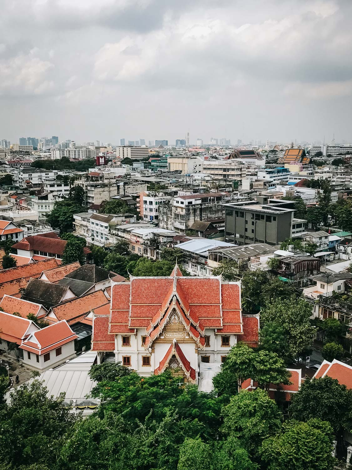 View of the city of Bangkok from the summit of Wat Saket, a Buddhist temple