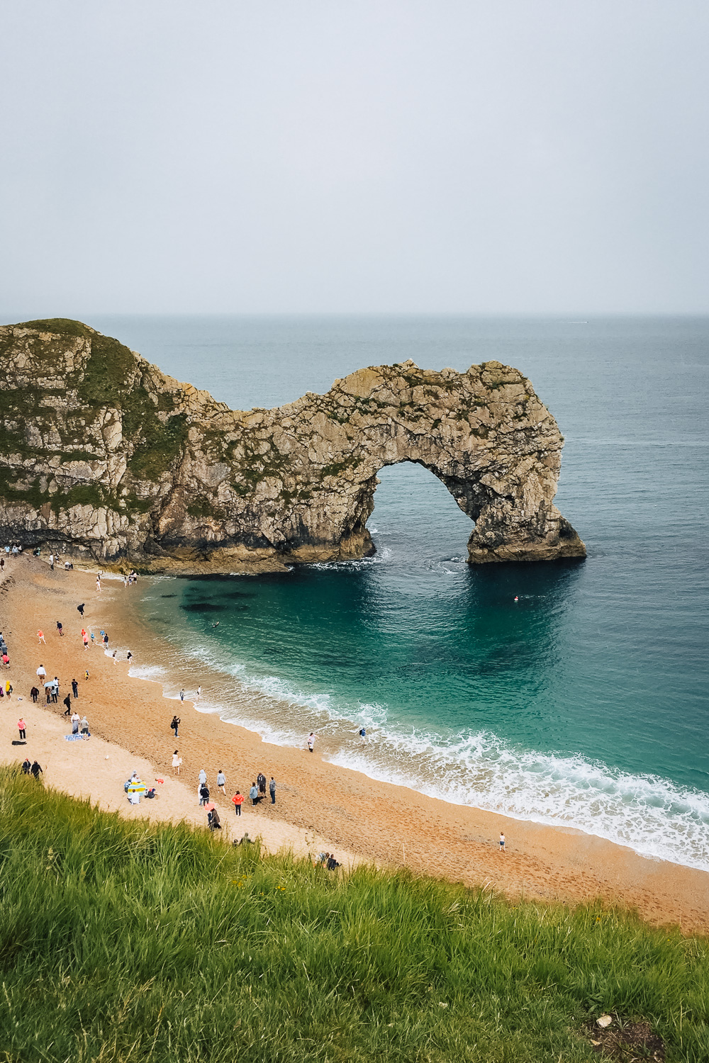 Durdle Door, a natural limestone arch on the Jurassic Coast near Lulworth in Dorset, England