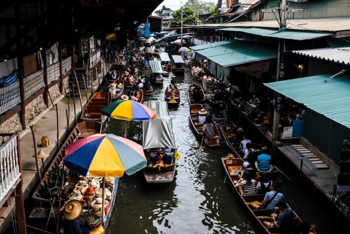 Market on the river in Bangkok, Thailand