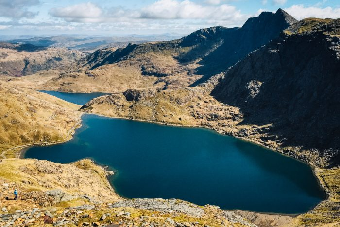 View from the top of Mount Snowdon, in Snowdonia National Park, northwest Wales