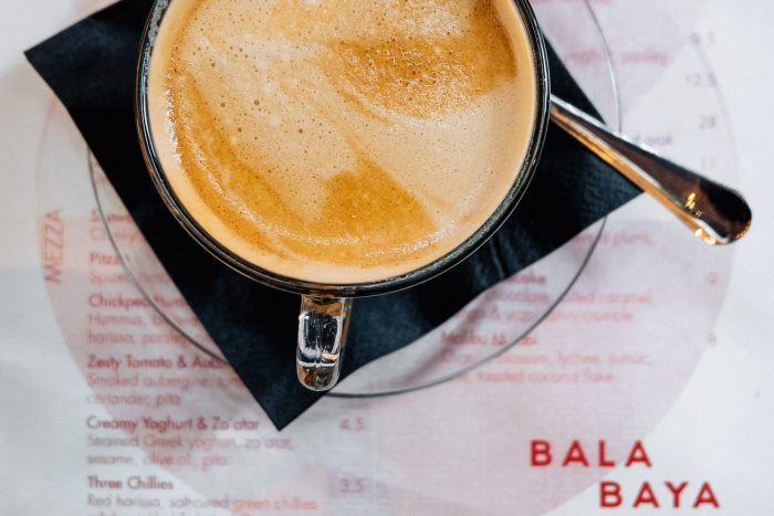 Flat White coffee for Brunch at Bala Baya in London