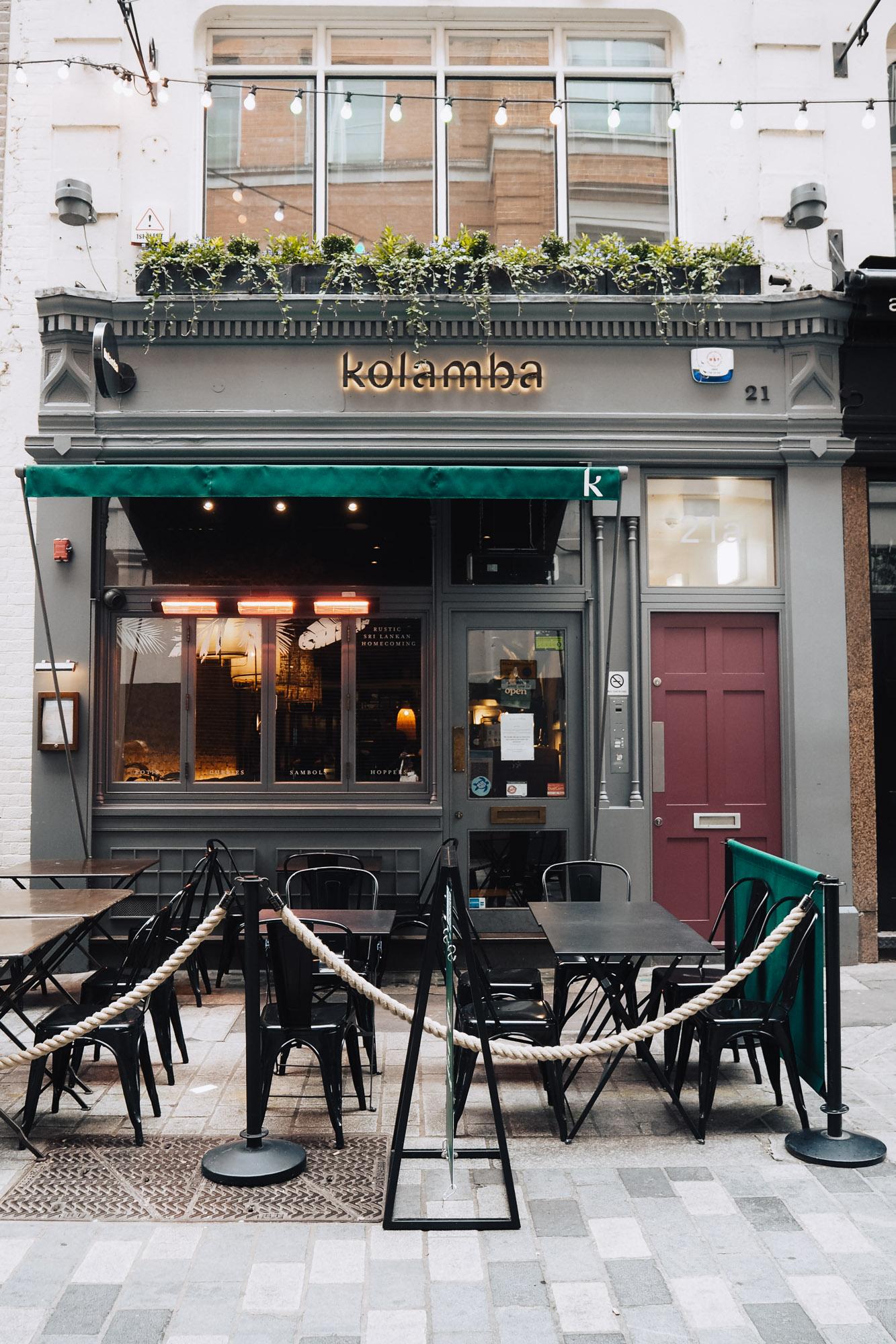 Kolamba, a Sri Lankan restaurant in Soho, London