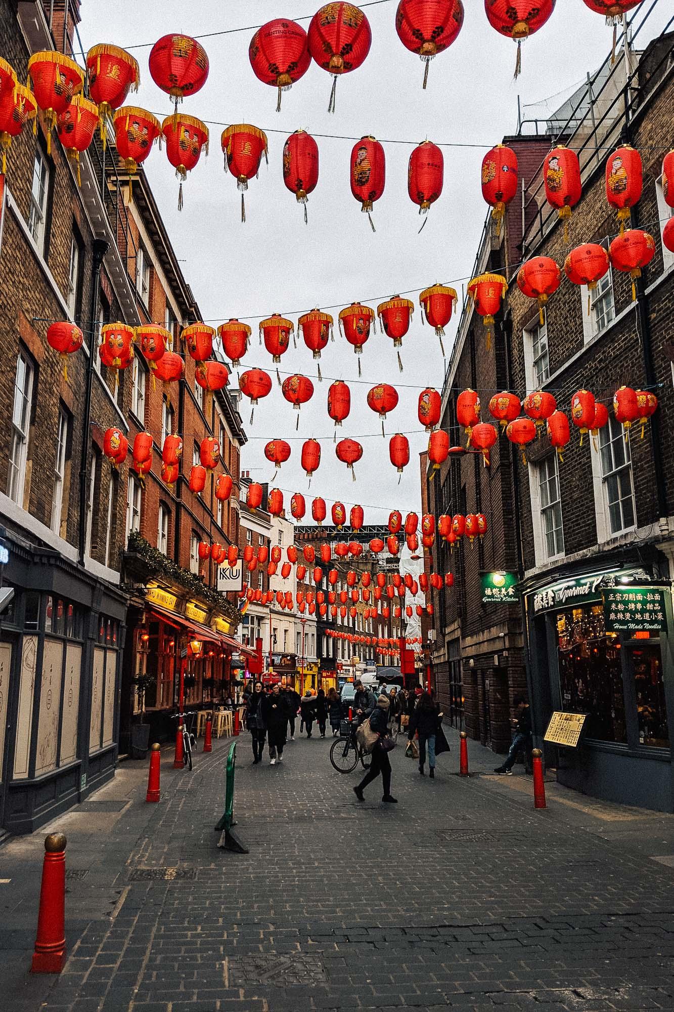 Red Chinese lanterns in Gerrard Street, Chinatown in London, UK