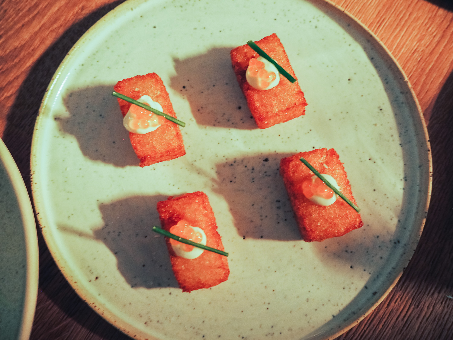Fried potato gems with buttermilk and roe at Milk Beach in Queen's Park, London