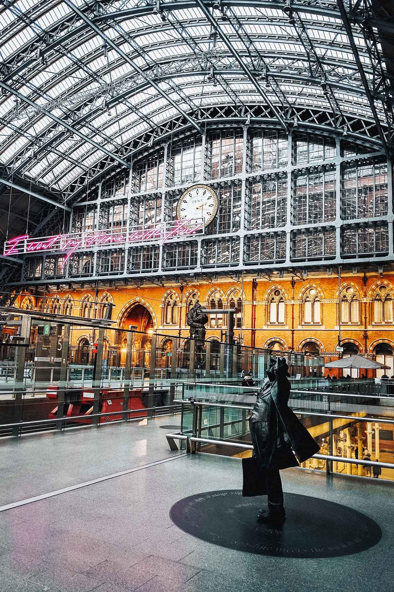 Railway station at St Pancras International in London, UK