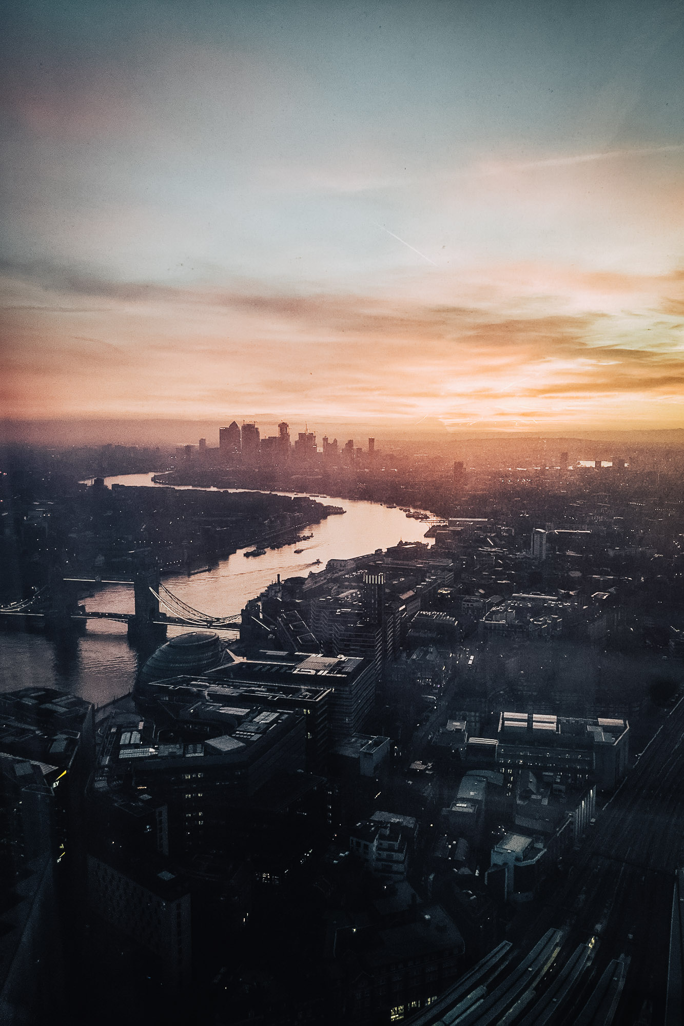 Sunrise over east London, view from Shangri-la Hotel at The Shard