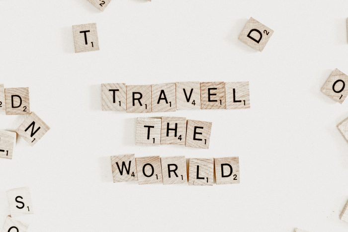 Travel the world Scrabble letters