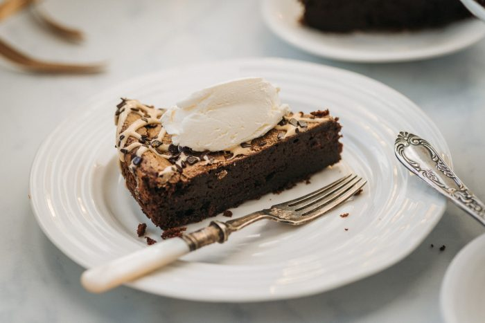 Gluten Free / Flourless / Nut-free Double Baked Dark Chocolate Cake (recipe by Ravneet Gill)
