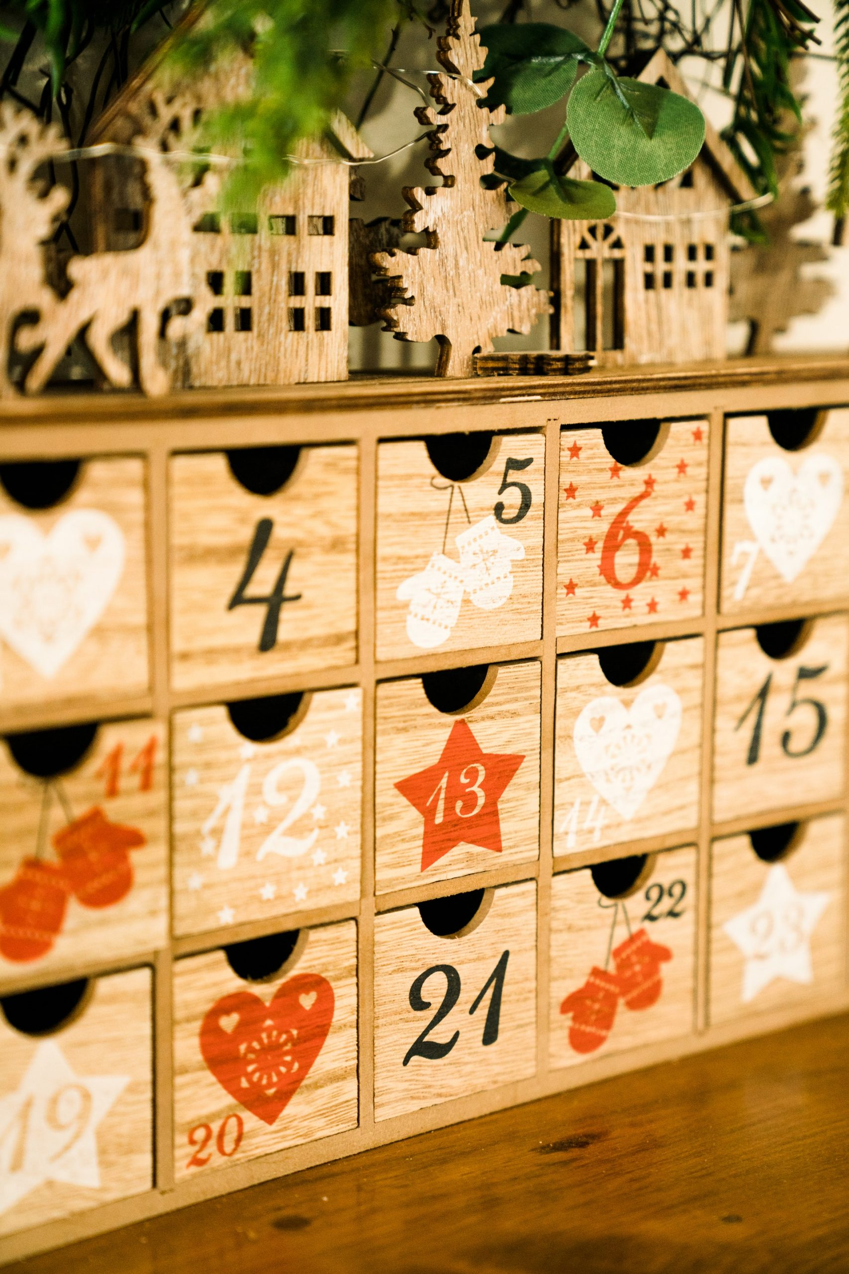 Christmas advent calendar wooden gift boxes