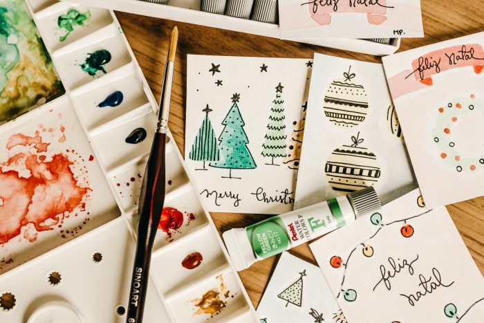 Personalised hand painted Christmas holiday greeting cards