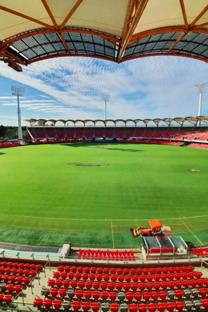 Metricon Stadium in Gold Coast, Queensland, Australia. Metricon Stadium is the home of the Gold Coast SUNS AFL and AFLW teams