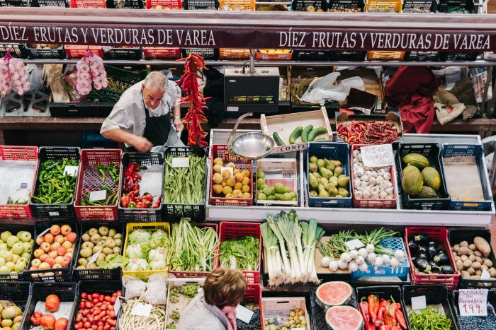 Fruit and vegetable stall at a food market in Spain