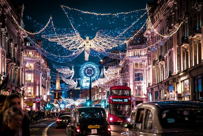 Christmas lights and decorations in Regent Street, London, United Kingdom