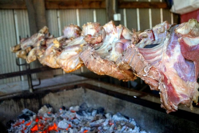 Roasted lamb meat on the grill