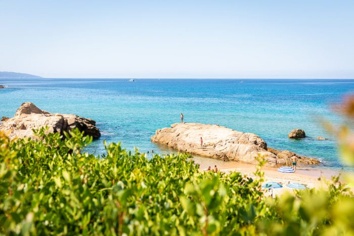 A white sandy beach in Corsica island, France