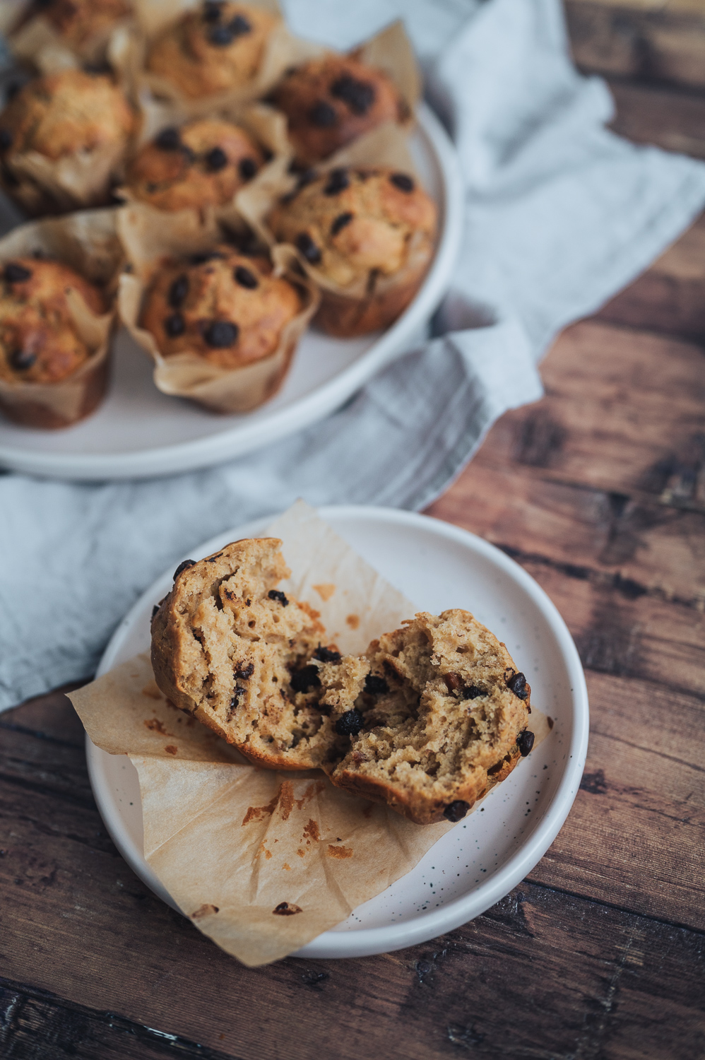 Peanut Butter, Banana, Oats and Chocolate Chip Muffins