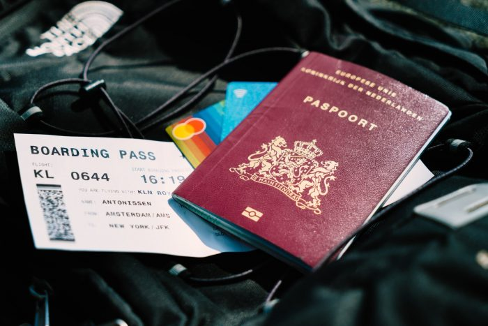 Travel documents, passport, boarding pass, bank cards, etc.