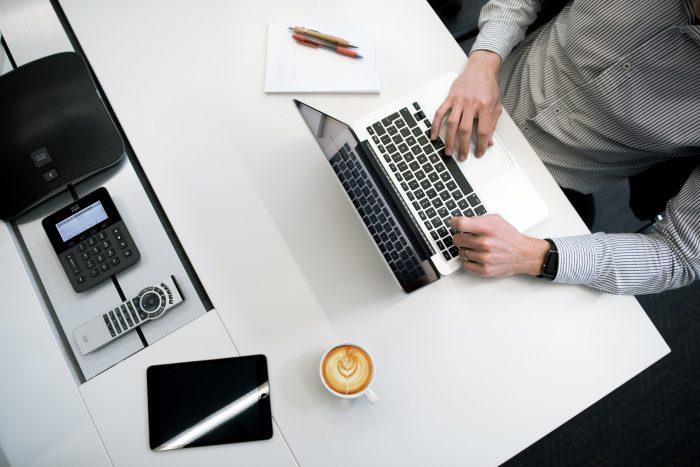 Office desk set up - business top shot