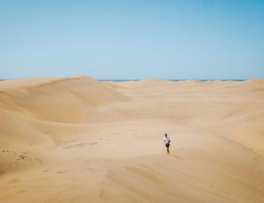 Maspalomas sand dunes, part of a UNESCO Biosphere Reserve in Gran Canaria island