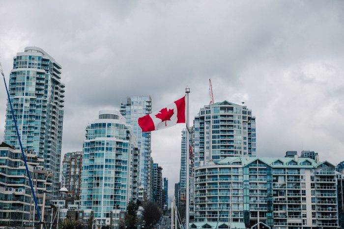 Canadian flag in Vancouver, BC, Canada