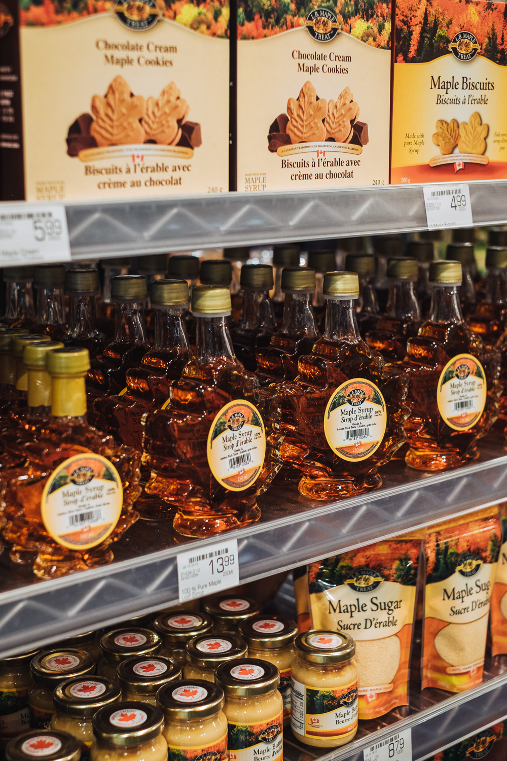Maple syrup selection at a supermarket in Vancouver, Canada