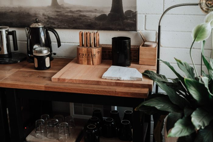 Kitchen counter with cheese knives