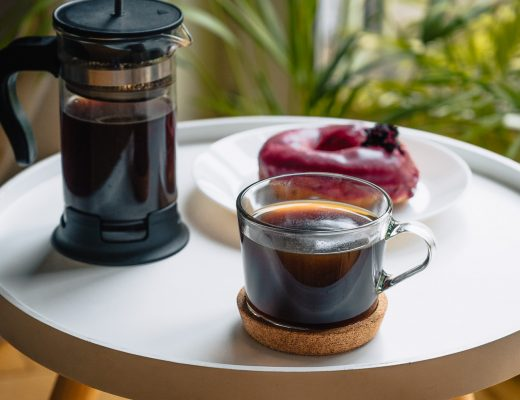 French Press coffee and donut