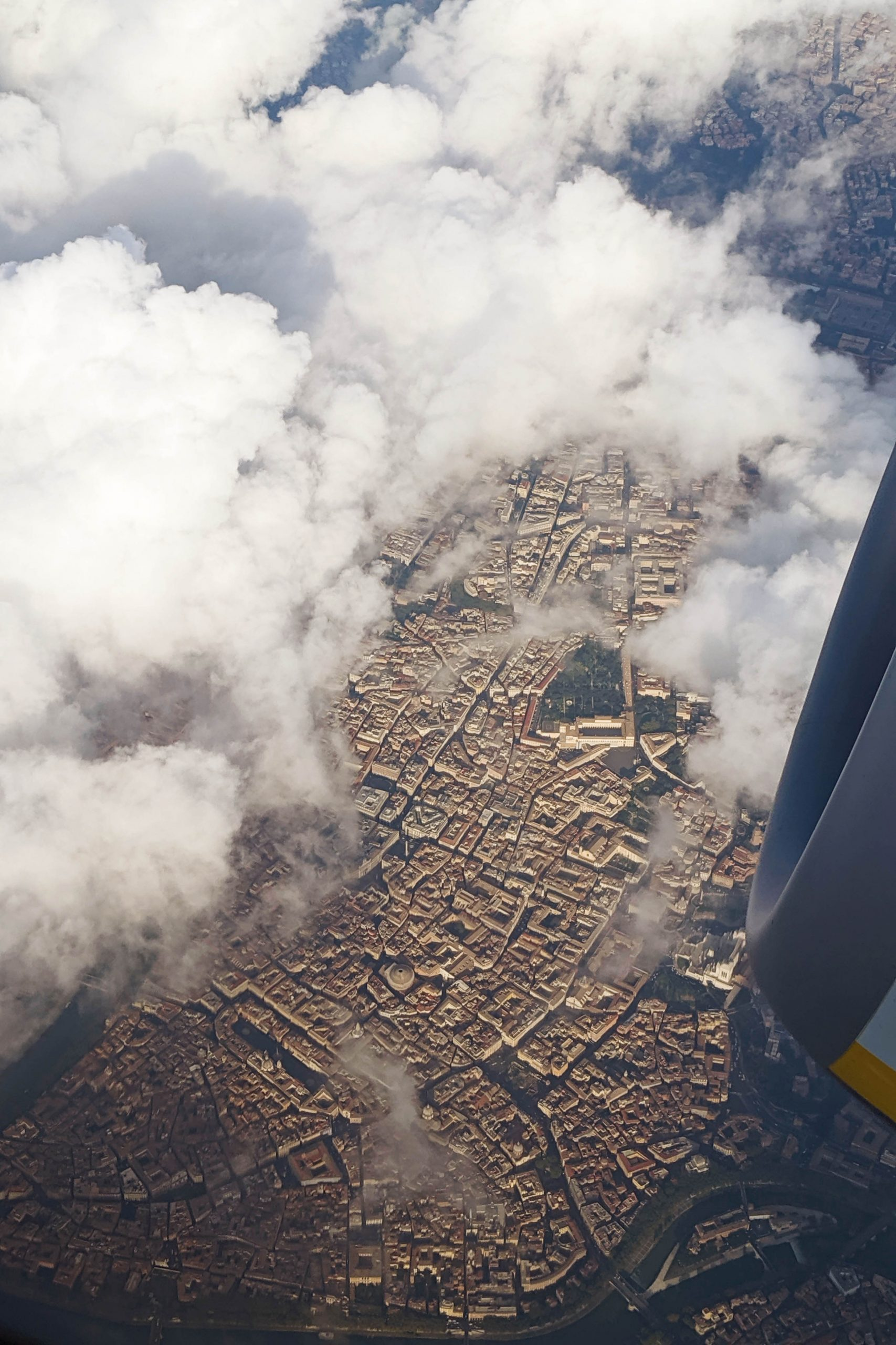 The city centre of Rome, Italy, view from the airplane