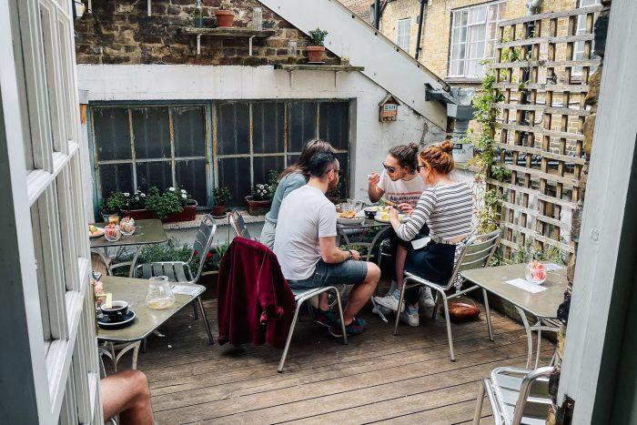 Rooftop terrace at The Gentlemen Baristas in Borough, London UK